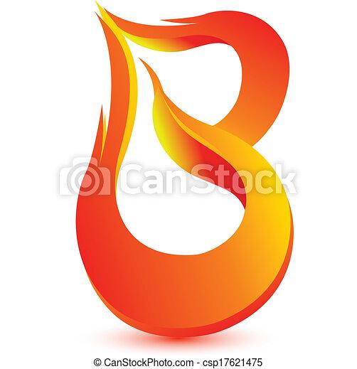 Fire B letter image design vector - csp17621475