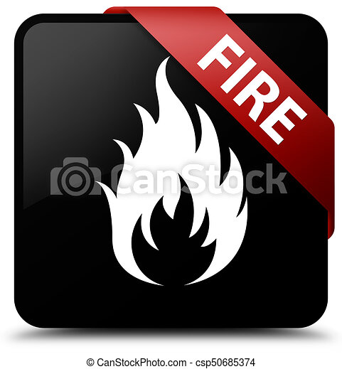 Fire black square button red ribbon in corner - csp50685374