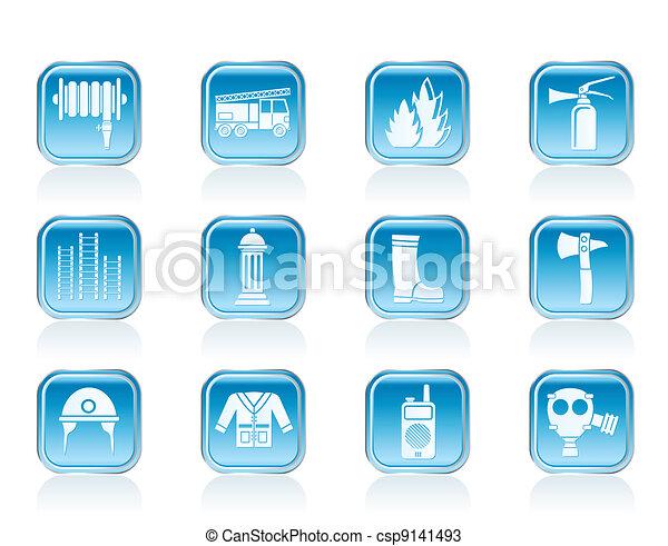 fire-brigade equipment icons - csp9141493