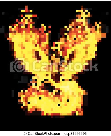 Fire burning Phoenix Bird with blac - csp31256696