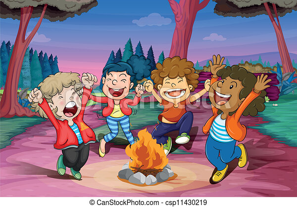 It is a photo of Unforgettable All Of The Kid Sit Around The Fire Drawing