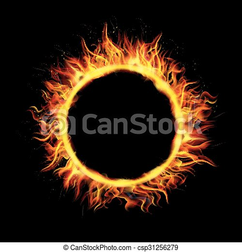 Fire Circle on Black Background - csp31256279