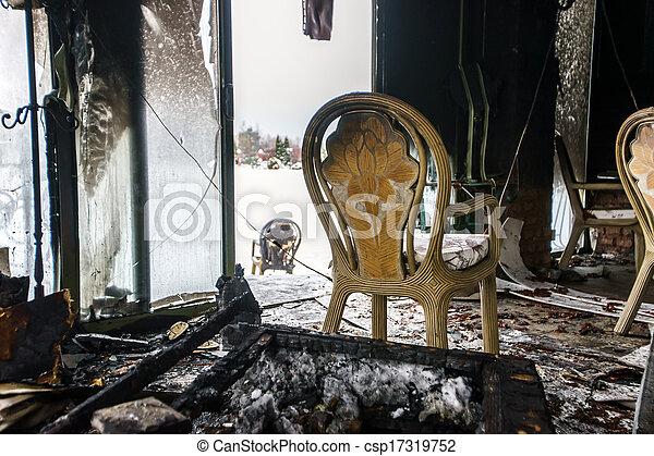 Fire damaged interior details - csp17319752