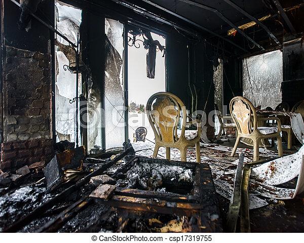 Fire damaged interior details - csp17319755
