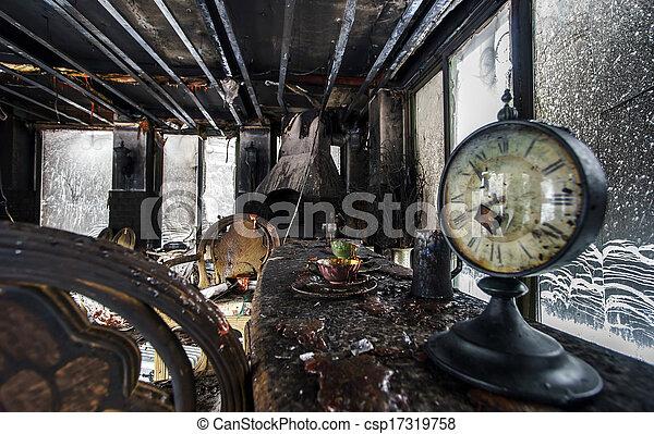 Fire damaged interior details - csp17319758