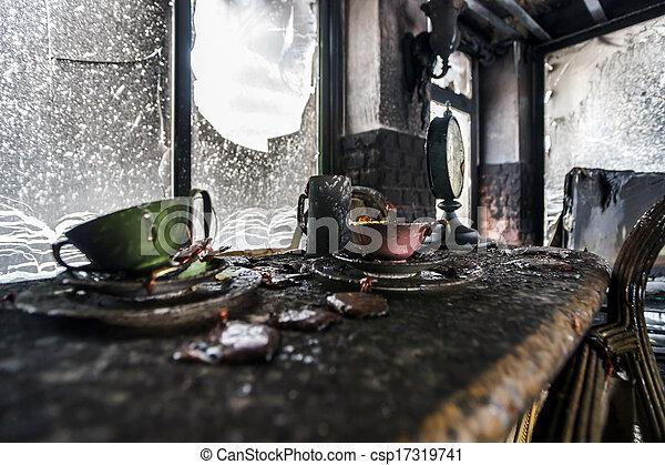 Fire damaged interior details - csp17319741