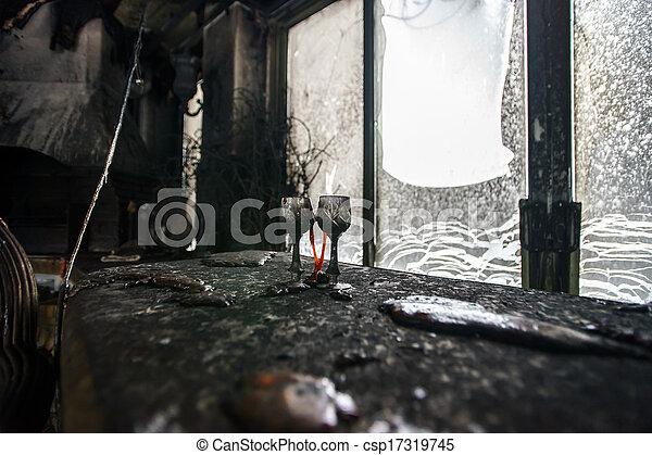 Fire damaged interior details - csp17319745