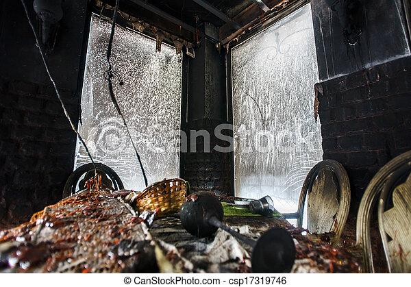 Fire damaged interior details - csp17319746