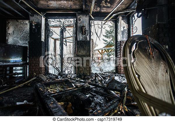 Fire damaged interior details - csp17319749