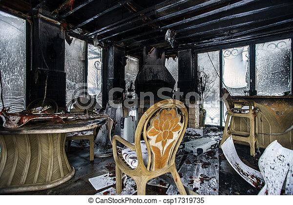 Fire damaged interior details - csp17319735