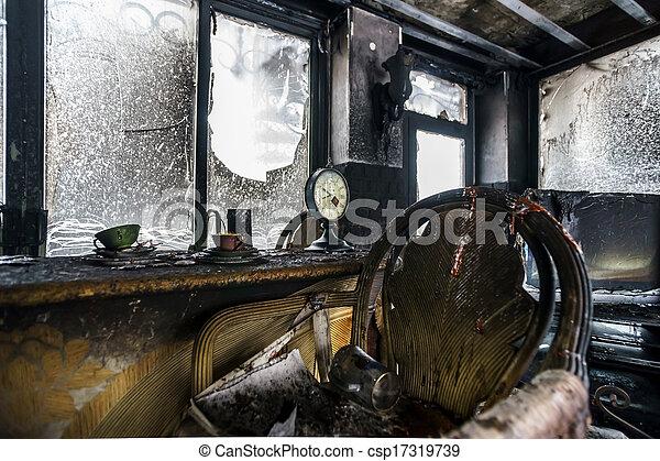 Fire damaged interior details - csp17319739