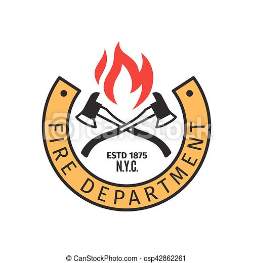 Fire department badge with axes - csp42862261
