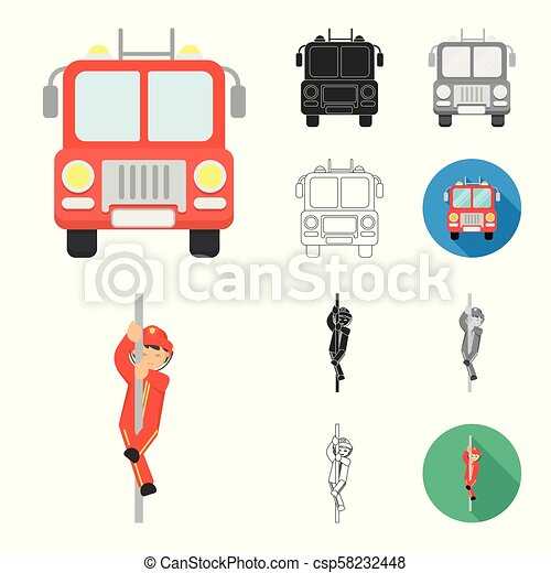 Fire Department cartoon, black, flat, monochrome, outline icons in set collection for design. Firefighters and equipment vector symbol stock web illustration. - csp58232448