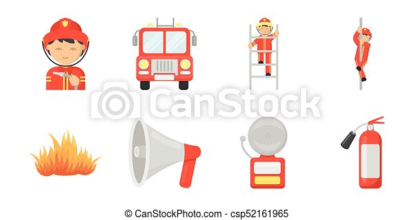 Fire Department icons in set collection for design. Firefighters and equipment vector symbol stock web illustration. - csp52161965