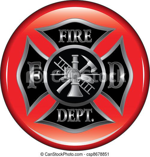 Fire Department Maltese Cross Butto - csp8678851