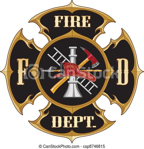 Fire Department Maltese Cross Vinta - csp8746815
