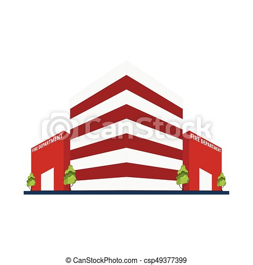 Fire department Modern building in flat style isolated on white background. - csp49377399