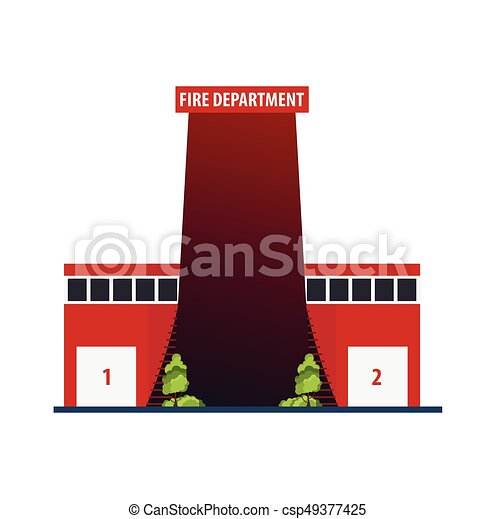 Fire department Modern building in flat style isolated on white background. - csp49377425