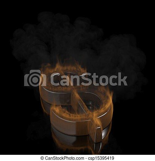 Fire dollar symbol on black background - csp15395419