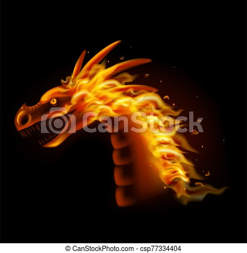 Fire dragon head isolated on black background - csp77334404