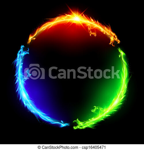 Fire dragons in circle. - csp16405471