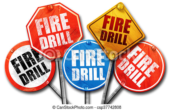 fire drill 3d rendering street signs stock illustration search rh canstockphoto com school fire drill clipart fire drill clipart black and white
