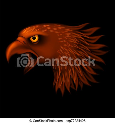 Fire eagle head isolated on black background - csp77334426