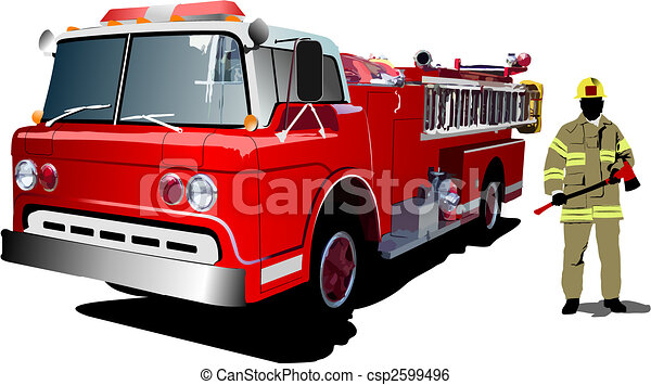 Fire engine and fireman isolated on background. Vector illustration - csp2599496