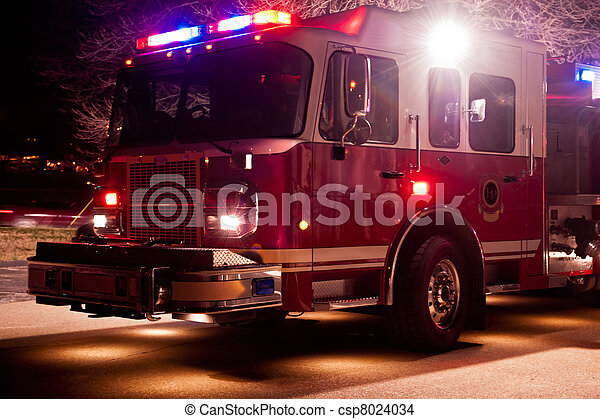 Fire Engine At Night Time Emergency   Csp8024034