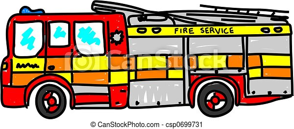 fire engine isolated on white drawn in toddler art style rh canstockphoto com fire engine clip art free fire engine clip art images