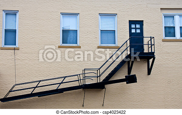 Fire Escape on Old Brick Wall - csp4023422