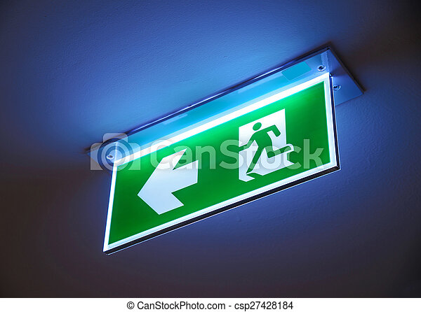 Fire exit ,green emergency exit sign. - csp27428184