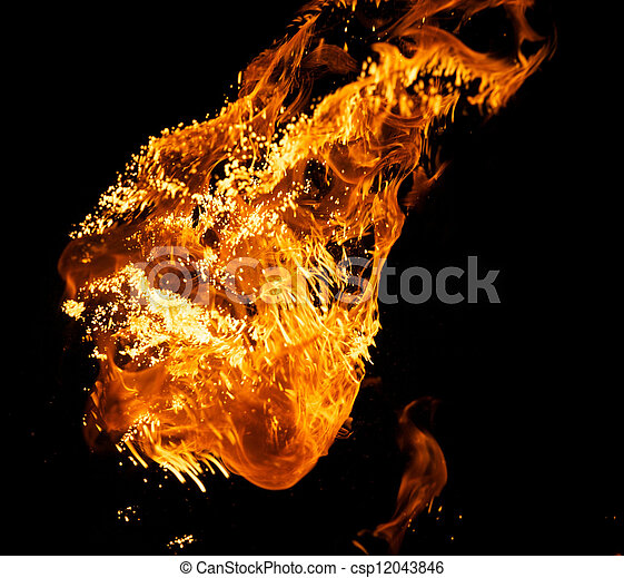 Fire explosion isolated on black background - csp12043846