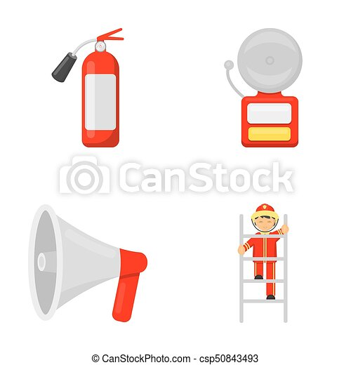 Fire Extinguisher Alarm Megaphone Fireman On The Stairs Fire