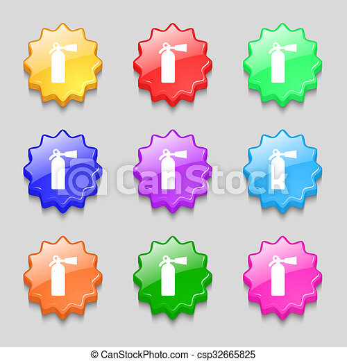 Fire Extinguisher Icon Sign Symbol On Nine Wavy Colourful Buttons