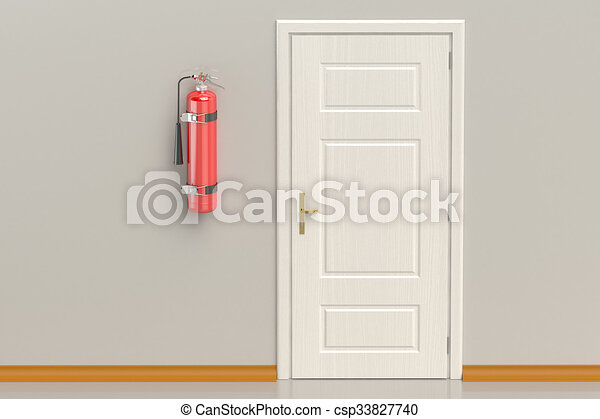 fire extinguisher on the wall - csp33827740