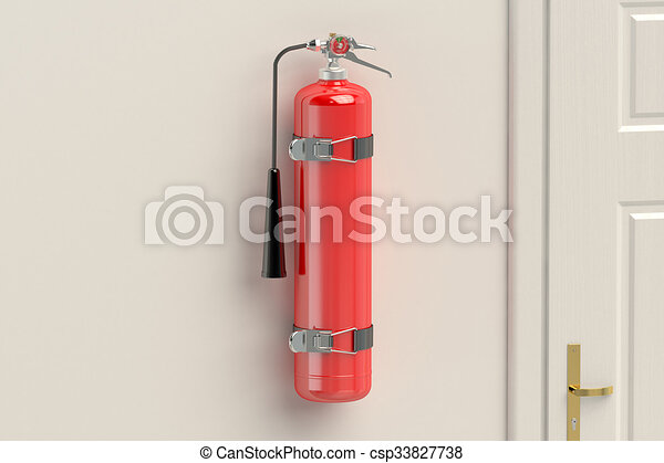 fire extinguisher on the wall - csp33827738