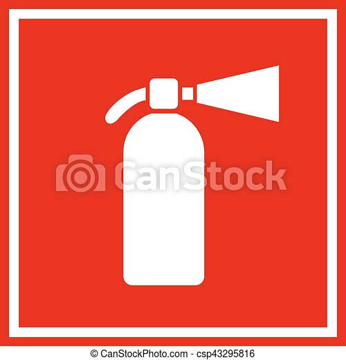Fire extinguisher red vector sign - csp43295816