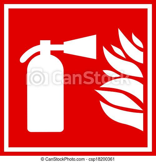 Fire extinguisher sign - csp18200361