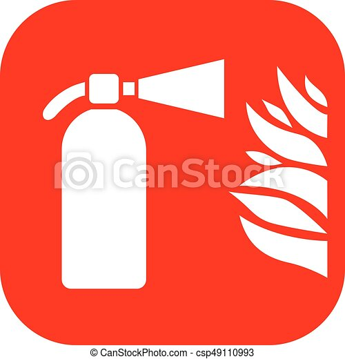 Fire Extinguisher Sign Fire Extinguisher And Flame Vector Sign