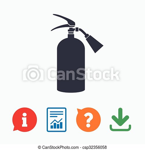 Fire Extinguisher Sign Icon Fire Safety Symbol Information Think