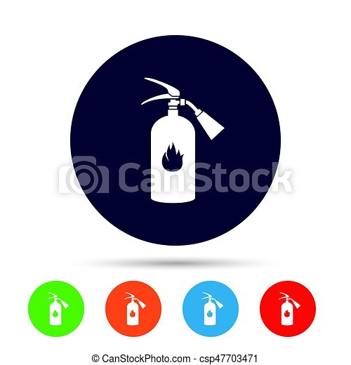 Fire Extinguisher Sign Icon Fire Safety Symbol Round Colourful