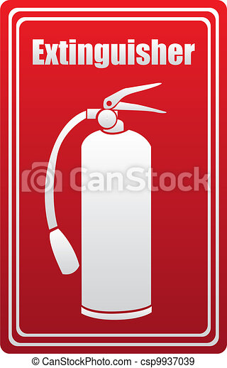 Fire extinguisher silhouette  - csp9937039