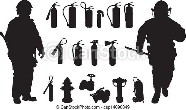 Fire extinguisher silhouette - csp14090349