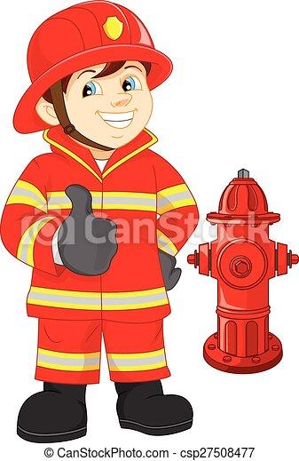 Fire fighter cartoon thumb up - csp27508477