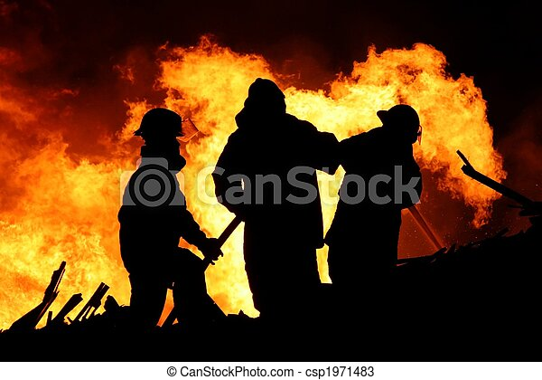 Fire fighters and huge flames - csp1971483
