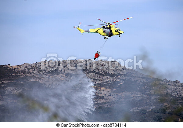fire fighting helicopters fire on the mountain - csp8734114