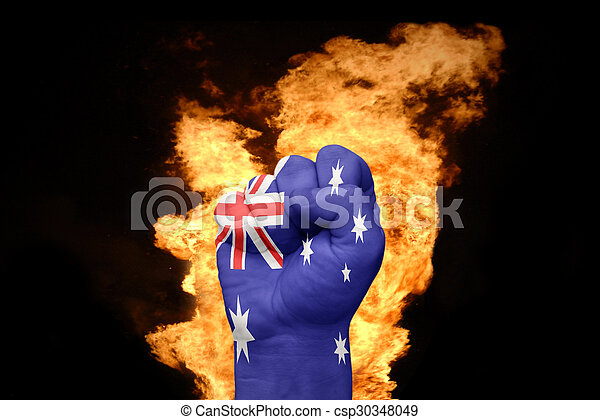 fire fist with the national flag of australia - csp30348049