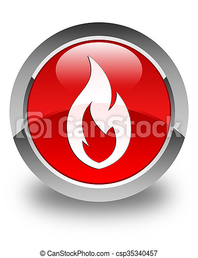 Fire flame icon glossy red round button - csp35340457
