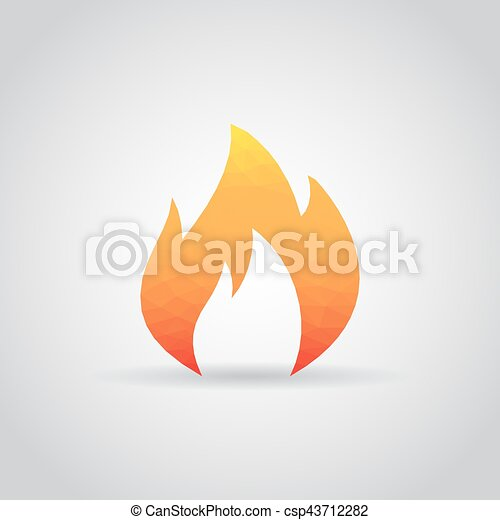 Fire flame icon in polygonal style on a gray background - csp43712282